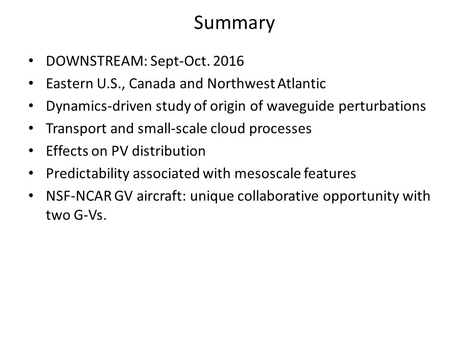 Summary DOWNSTREAM: Sept-Oct.