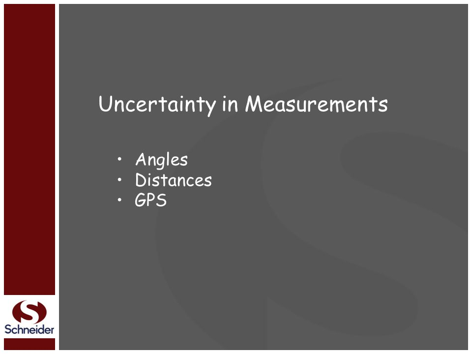 Uncertainty in Measurements Angles Distances GPS