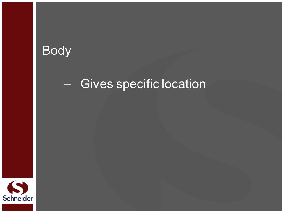 Body –Gives specific location