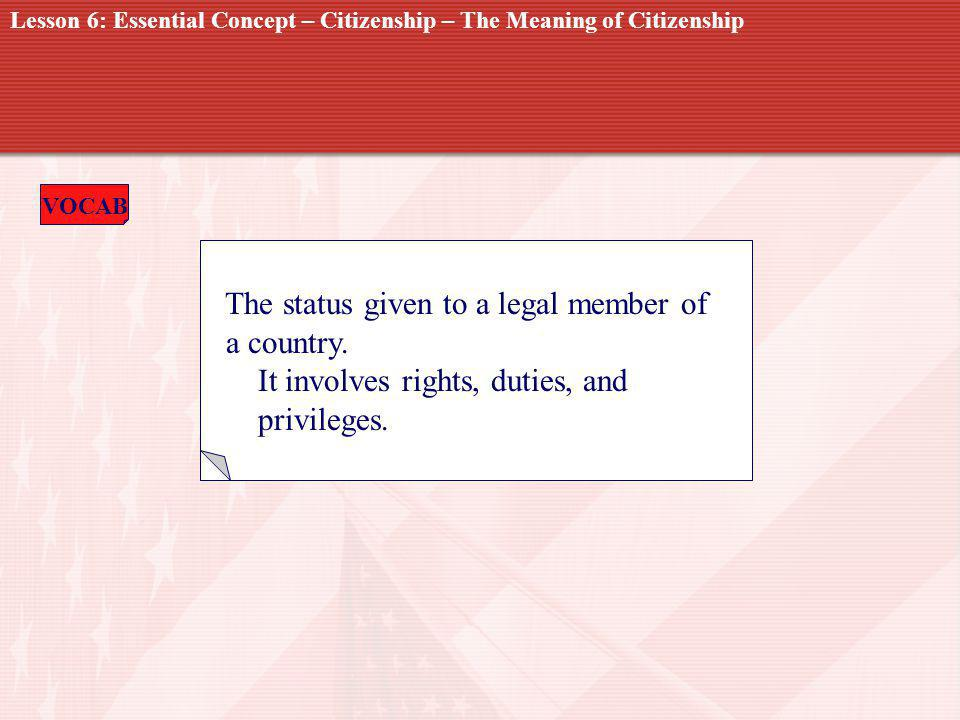 VOCAB CITIZENSHIP The status given to a legal member of a country.