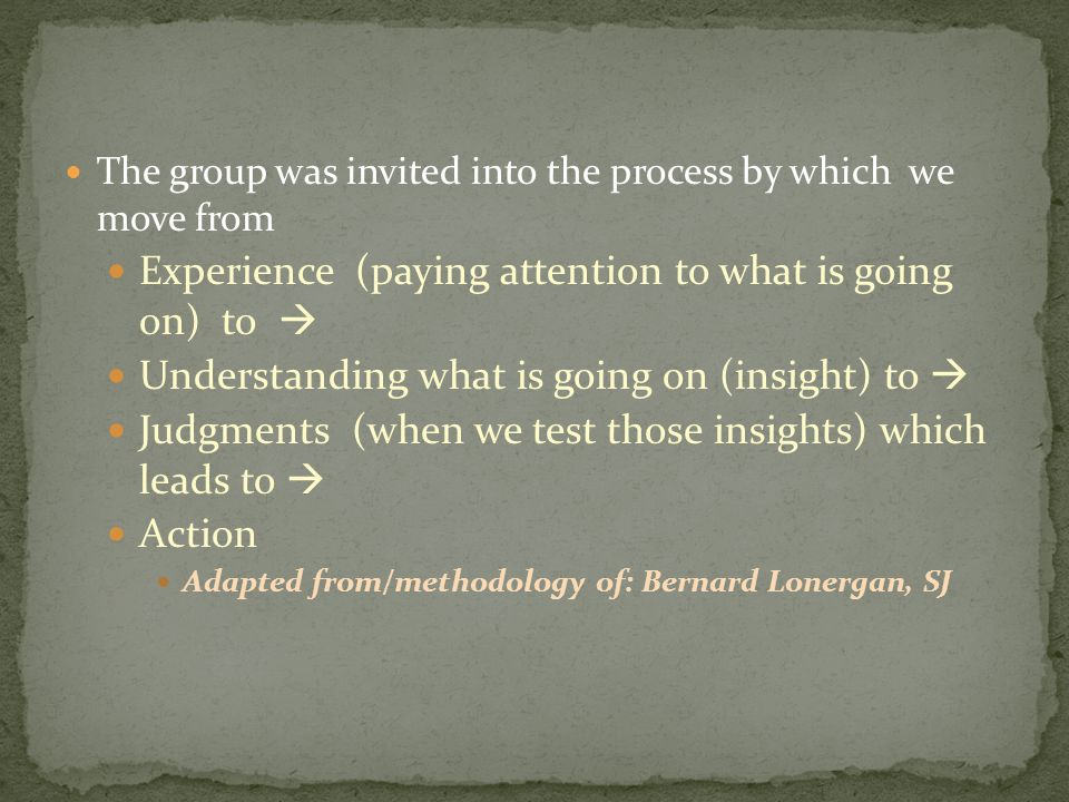 The group was invited into the process by which we move from Experience (paying attention to what is going on) to  Understanding what is going on (insight) to  Judgments (when we test those insights) which leads to  Action Adapted from/methodology of: Bernard Lonergan, SJ