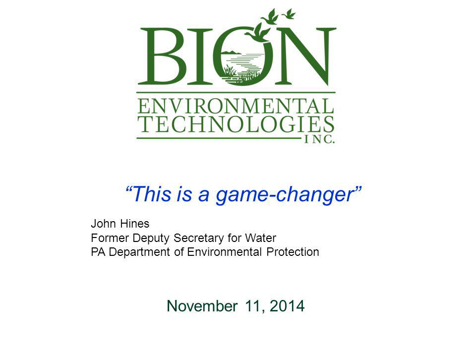 2 Forward Looking Statements This presentation contains, in addition to historical information, forward-looking statements regarding Bion Environmental Technologies, Inc.