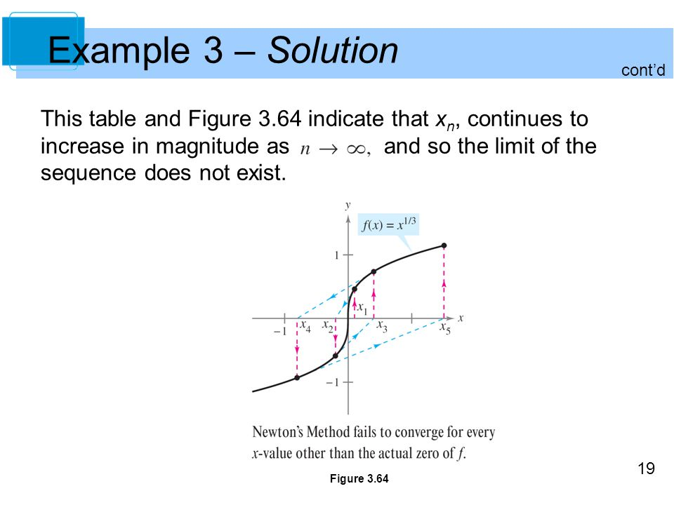 19 Example 3 – Solution This table and Figure 3.64 indicate that x n, continues to increase in magnitude as and so the limit of the sequence does not