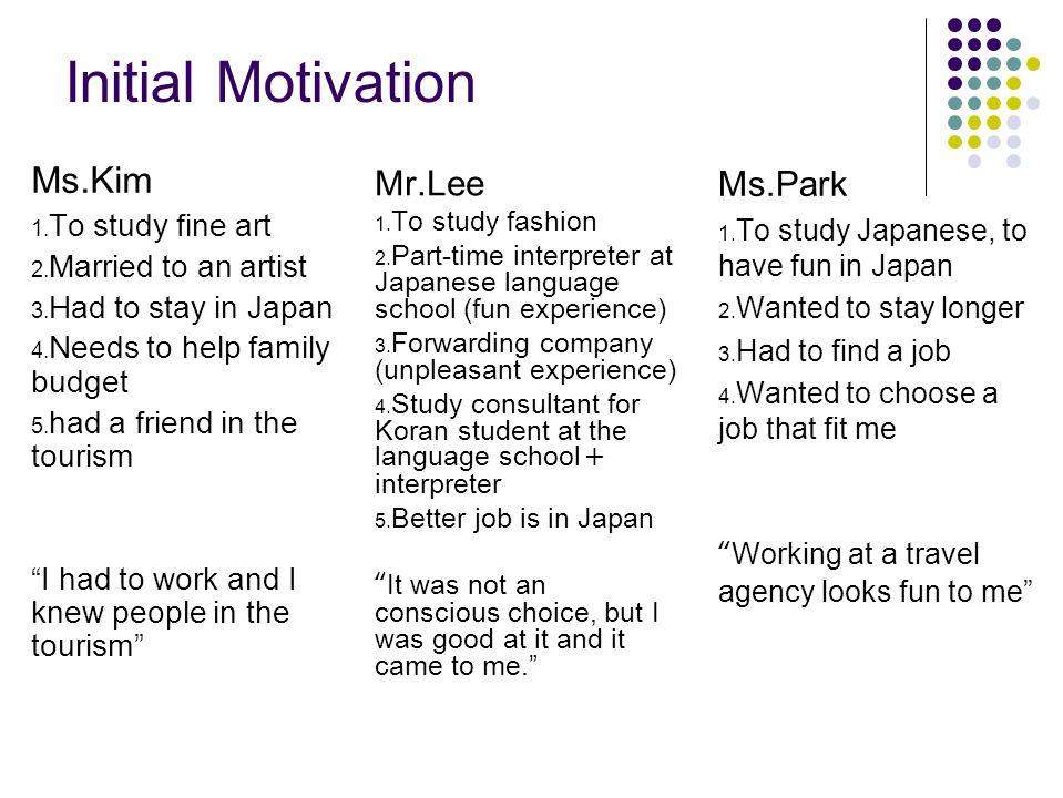 Initial Motivation Ms.Kim 1. To study fine art 2.