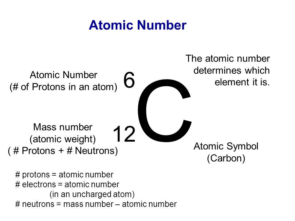 Atomic Number C 12 Mass number (atomic weight) ( # Protons + # Neutrons) 6 Atomic Number (# of Protons in an atom) Atomic Symbol (Carbon) The atomic n