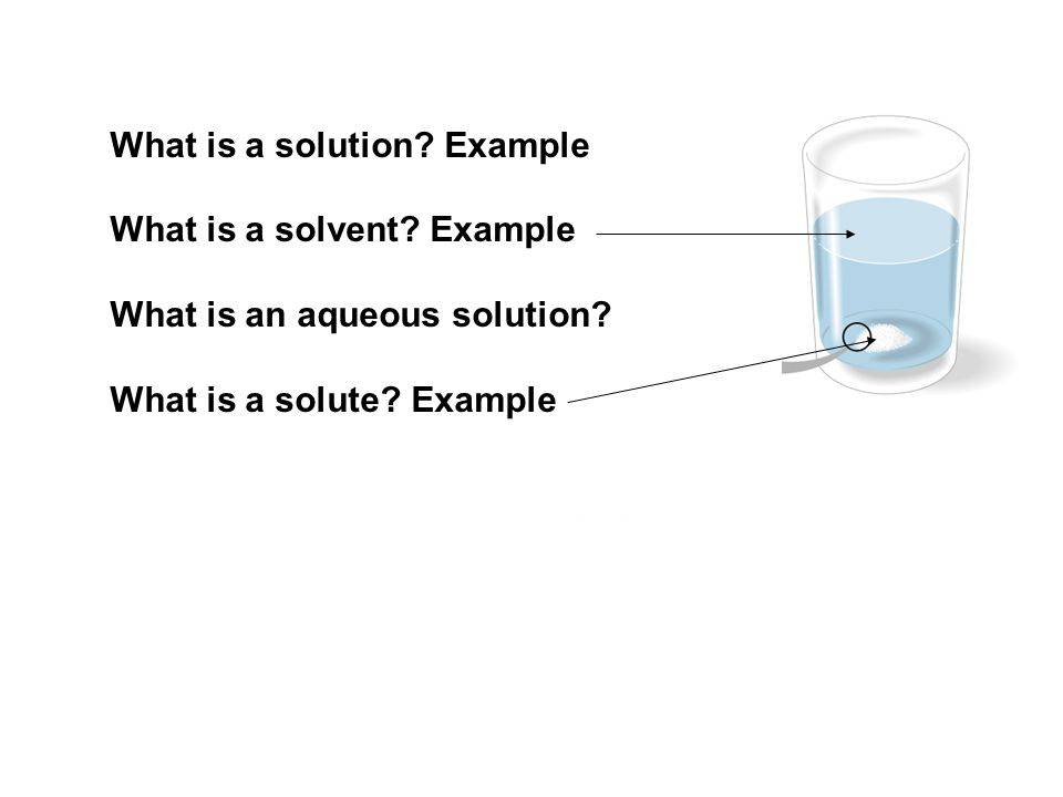 What is a solution? Example What is a solvent? Example What is an aqueous solution? What is a solute? Example