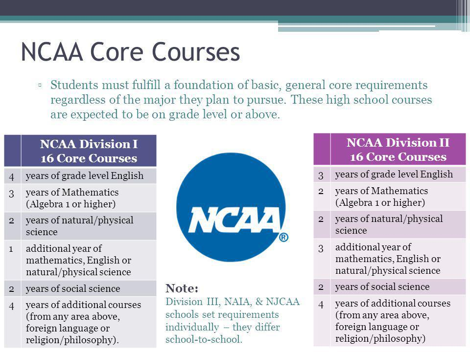 NCAA Core Courses ▫Students must fulfill a foundation of basic, general core requirements regardless of the major they plan to pursue.