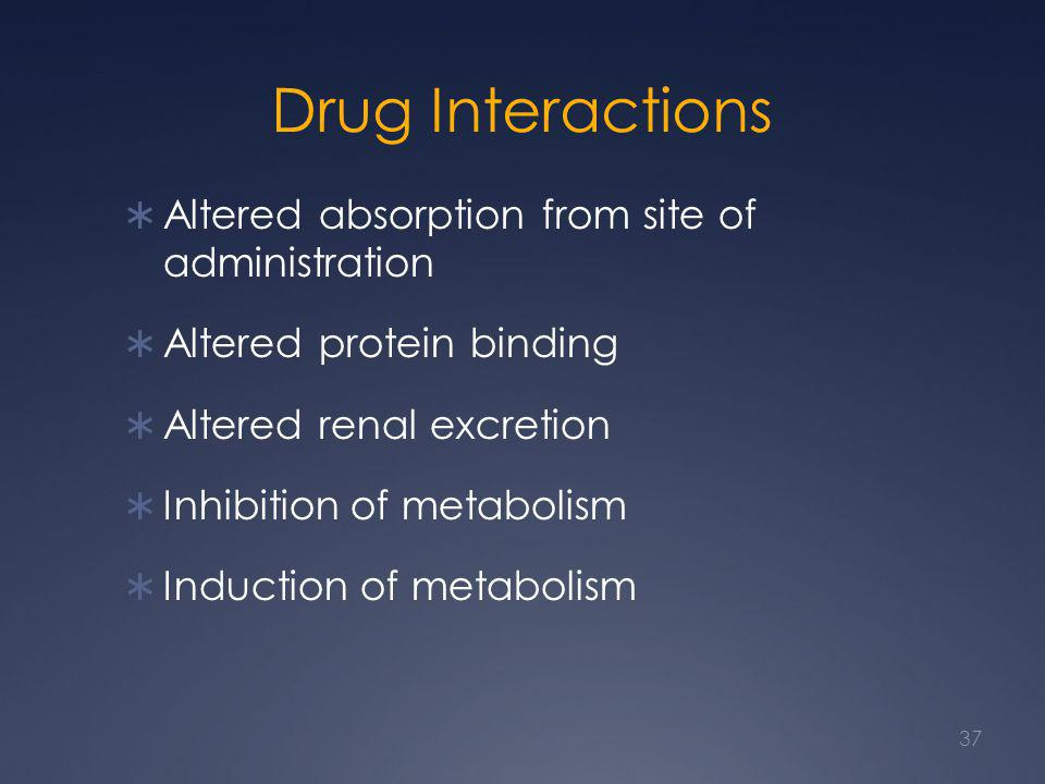 Drug Interactions  Altered absorption from site of administration  Altered protein binding  Altered renal excretion  Inhibition of metabolism  In