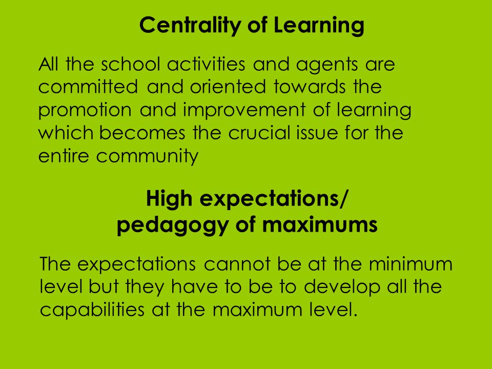 Centrality of Learning All the school activities and agents are committed and oriented towards the promotion and improvement of learning which becomes the crucial issue for the entire community High expectations/ pedagogy of maximums The expectations cannot be at the minimum level but they have to be to develop all the capabilities at the maximum level.