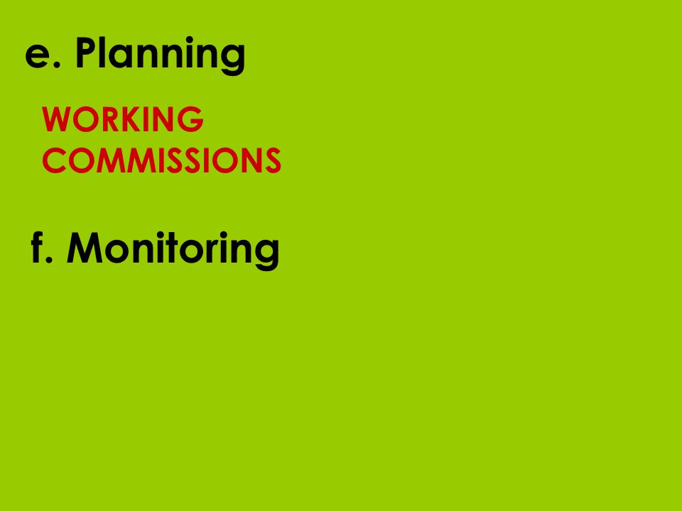 WORKING COMMISSIONS e. Planning f. Monitoring