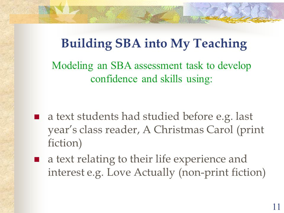 11 a text students had studied before e.g.