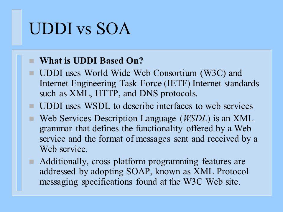 Differences between SOA and UDDI UDDI vs SOA n What is UDDI?  UDDI is a platform-independent framework for describing services, discovering businesse