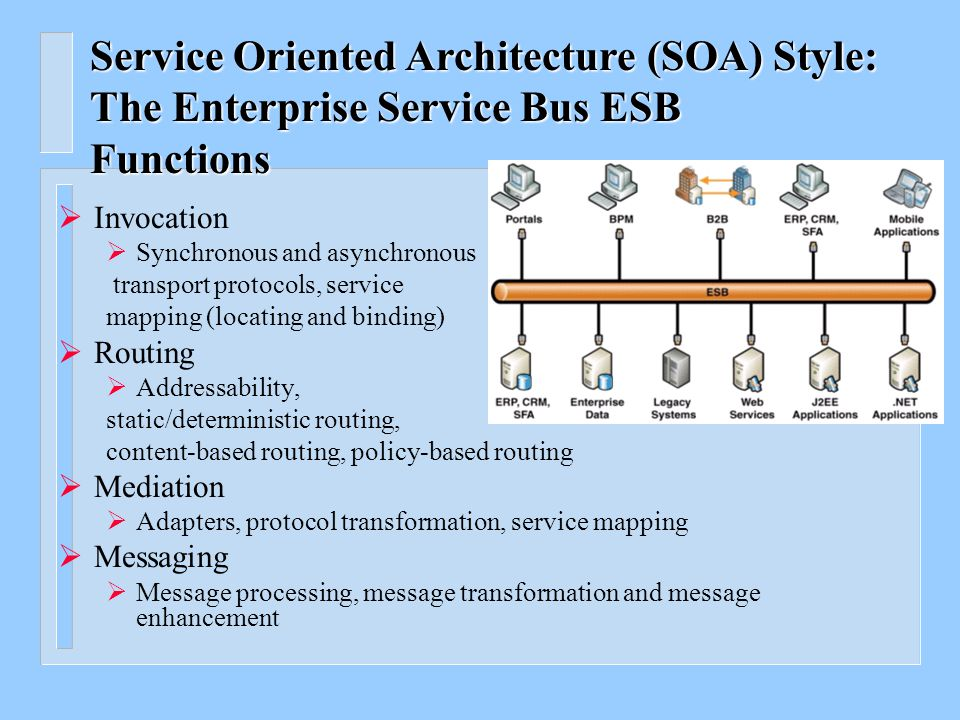 Service Oriented Architecture (SOA) Style: The Enterprise Service Bus ESB n Characteristics of an ESB – Streamlines development – Supports multiple binding strategies – Performs data transformation – Intelligent routing – Real time monitoring – Exception handling – Service security