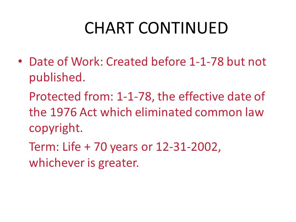 CHART CONTINUED Date of Work: Created before 1-1-78 but not published. Protected from: 1-1-78, the effective date of the 1976 Act which eliminated com