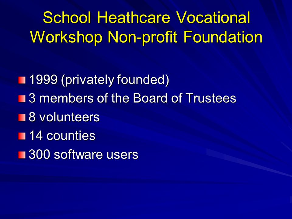 School Heathcare Vocational Workshop Non-profit Foundation 1999 (privately founded) 3 members of the Board of Trustees 8 volunteers 14 counties 300 so