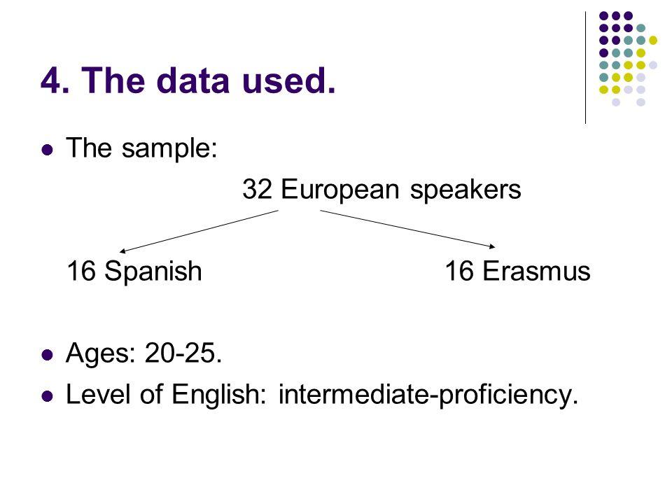 4. The data used. The sample: 32 European speakers 16 Spanish16 Erasmus Ages: 20-25. Level of English: intermediate-proficiency.