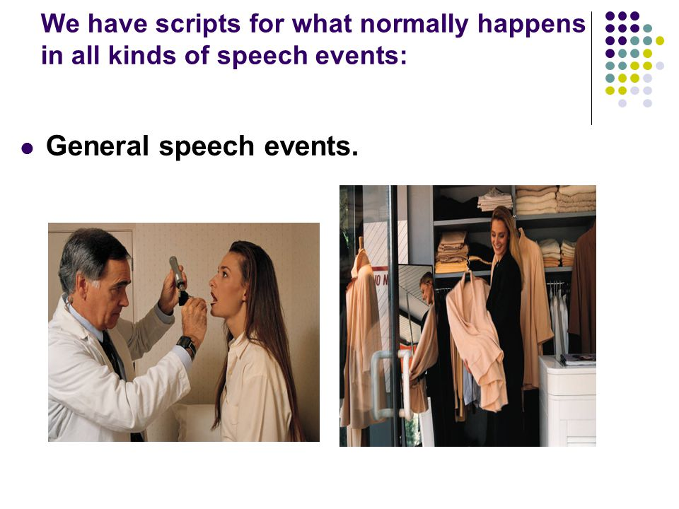 We have scripts for what normally happens in all kinds of speech events: General speech events.