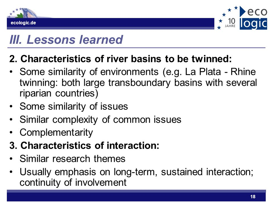 ecologic.de 18 III.Lessons learned 2.