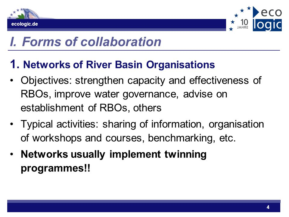 ecologic.de 4 I.Forms of collaboration 1.