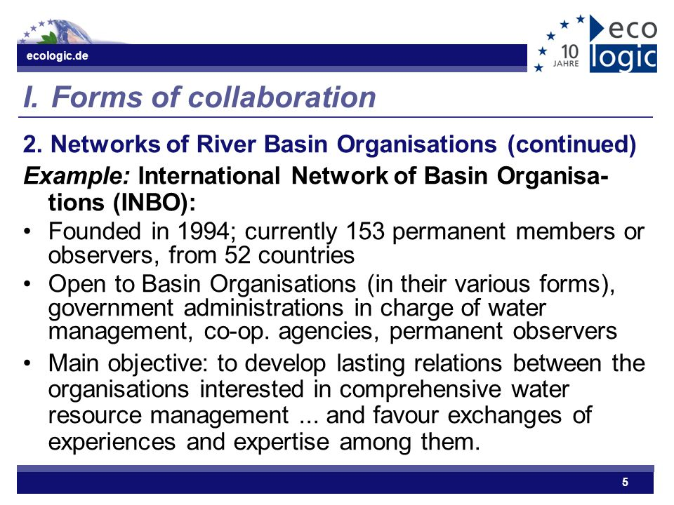 ecologic.de 5 I.Forms of collaboration 2.