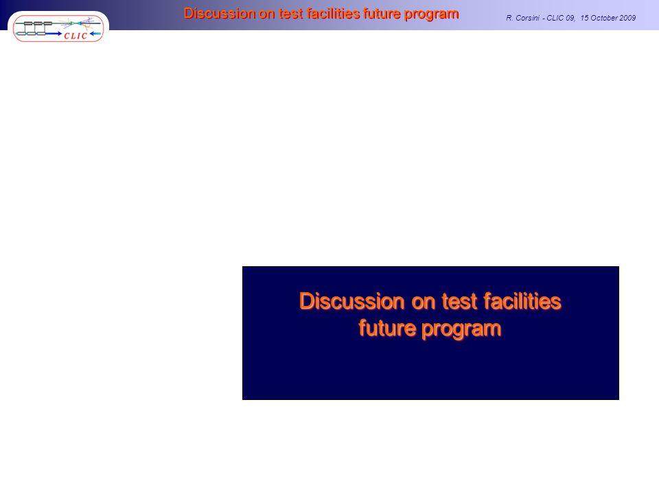 R. Corsini - CLIC 09, 15 October 2009 Discussion on test facilities future program