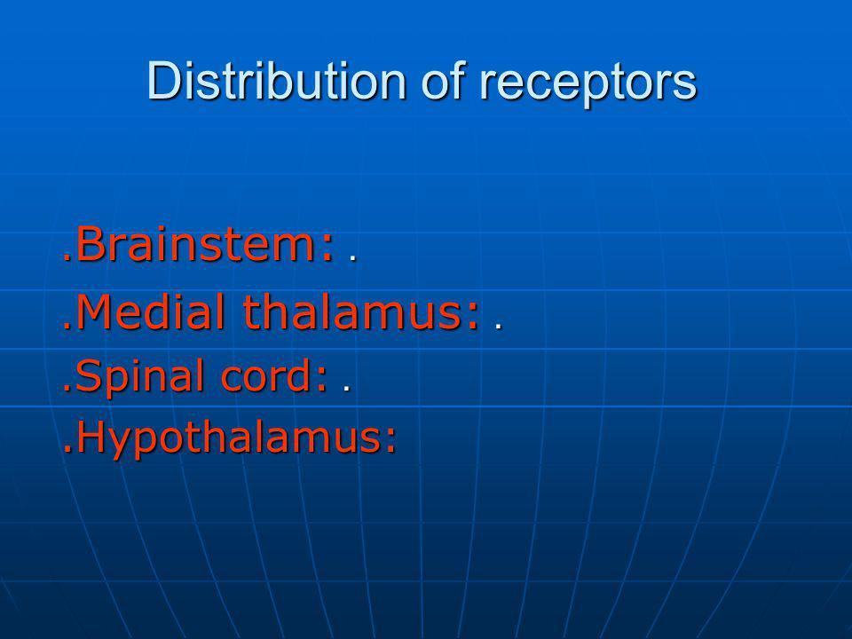 Distribution of receptors.. Brainstem:.. Medial thalamus:.. Spinal cord:.Hypothalamus: