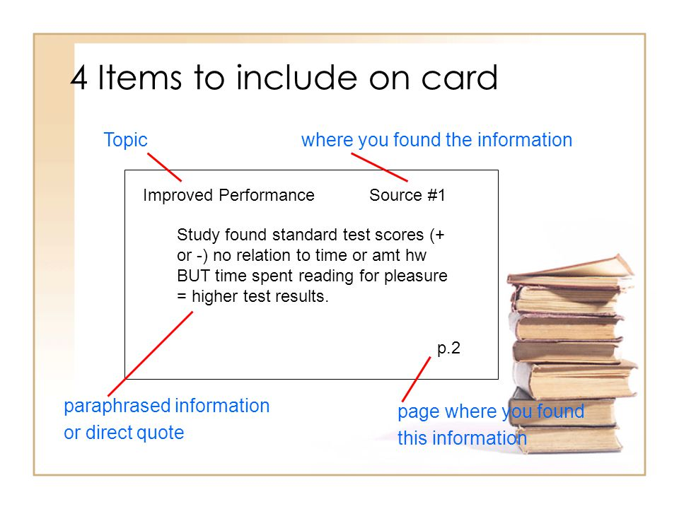 4 Items to include on card Improved PerformanceSource #1 Study found standard test scores (+ or -) no relation to time or amt hw BUT time spent readin
