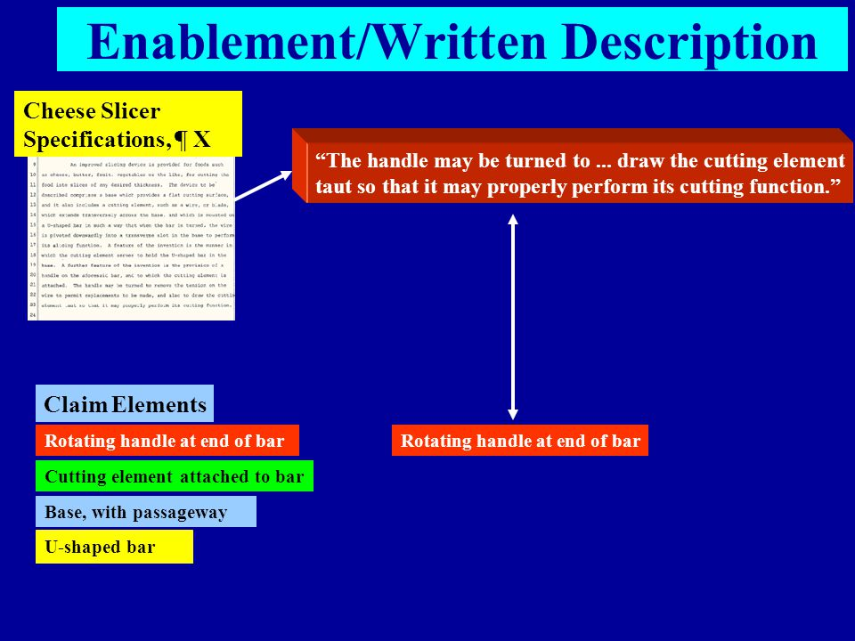 "Enablement/Written Description Cheese Slicer Specifications, ¶ X ""The handle may be turned to... draw the cutting element taut so that it may properly"