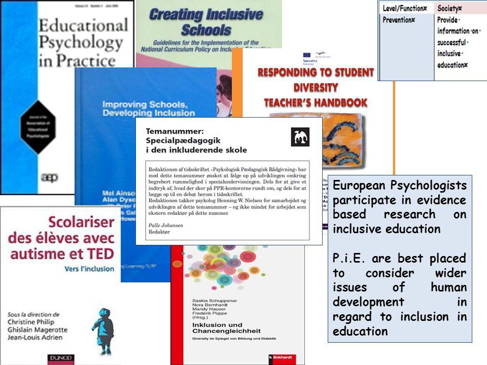 Guidelines for Psychologists in inclusive education/Netherlands http://www.psynip.nl/augustus-2013-praktijkichtlijnen-2013-geheel.pdf including a list of competences of psychologists in education