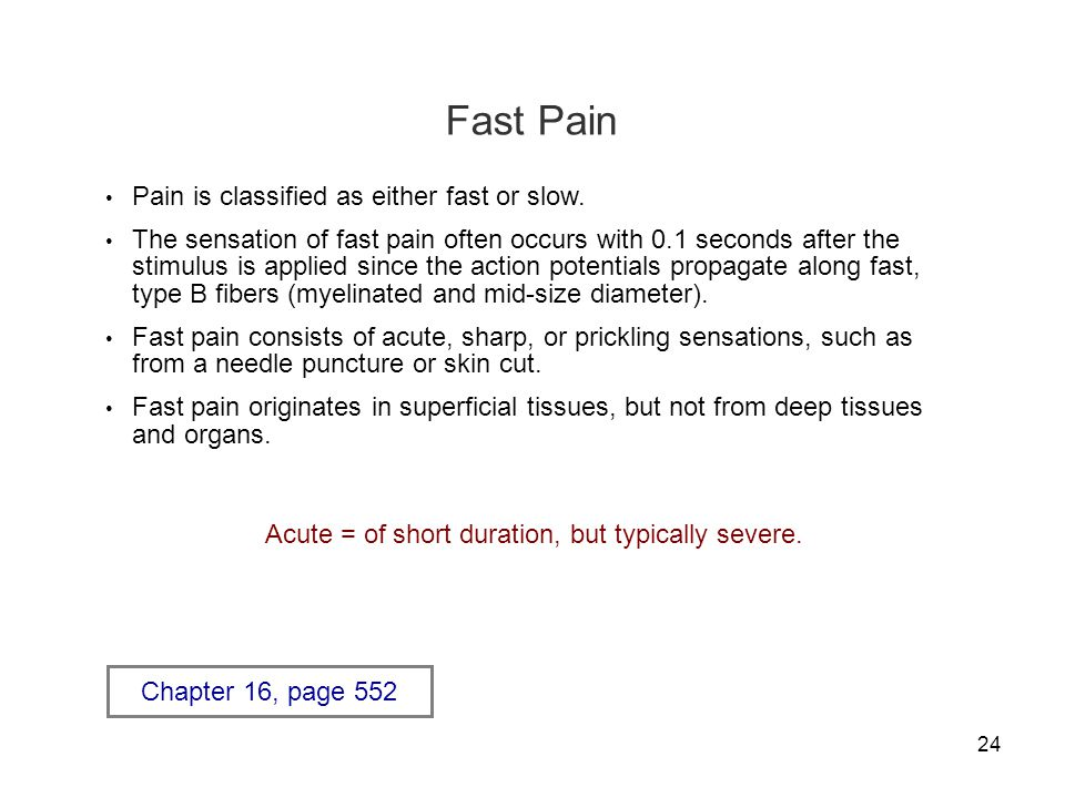 24 Fast Pain Pain is classified as either fast or slow.