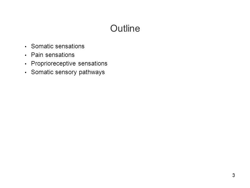 3 Outline Somatic sensations Pain sensations Proprioreceptive sensations Somatic sensory pathways