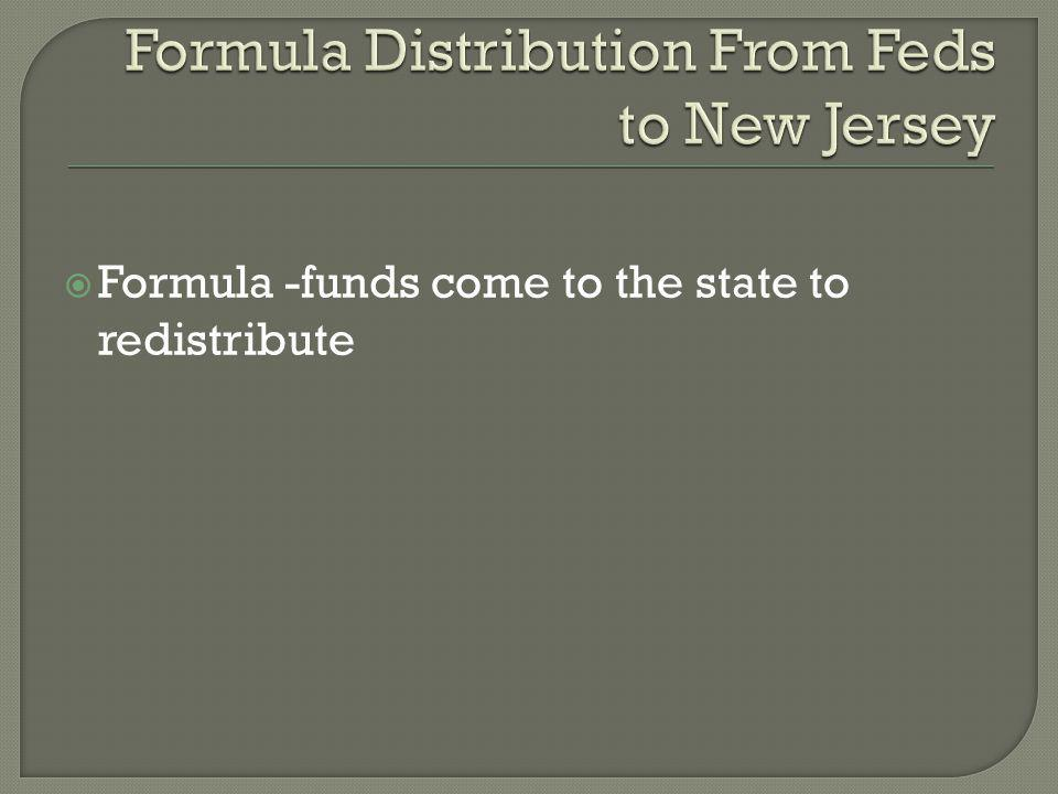  Formula -funds come to the state to redistribute