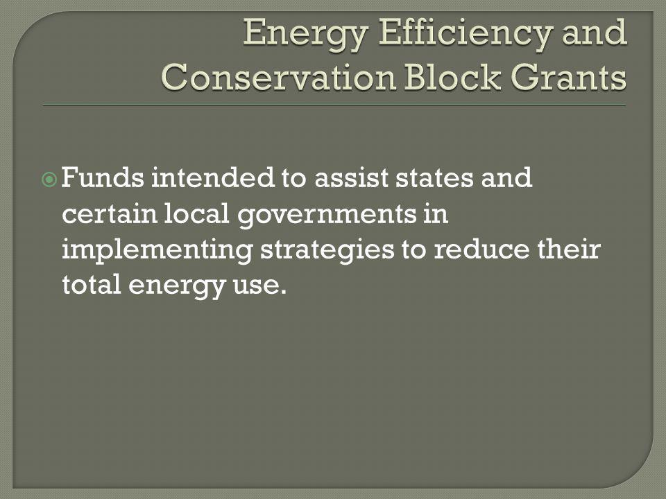  Funds intended to assist states and certain local governments in implementing strategies to reduce their total energy use.