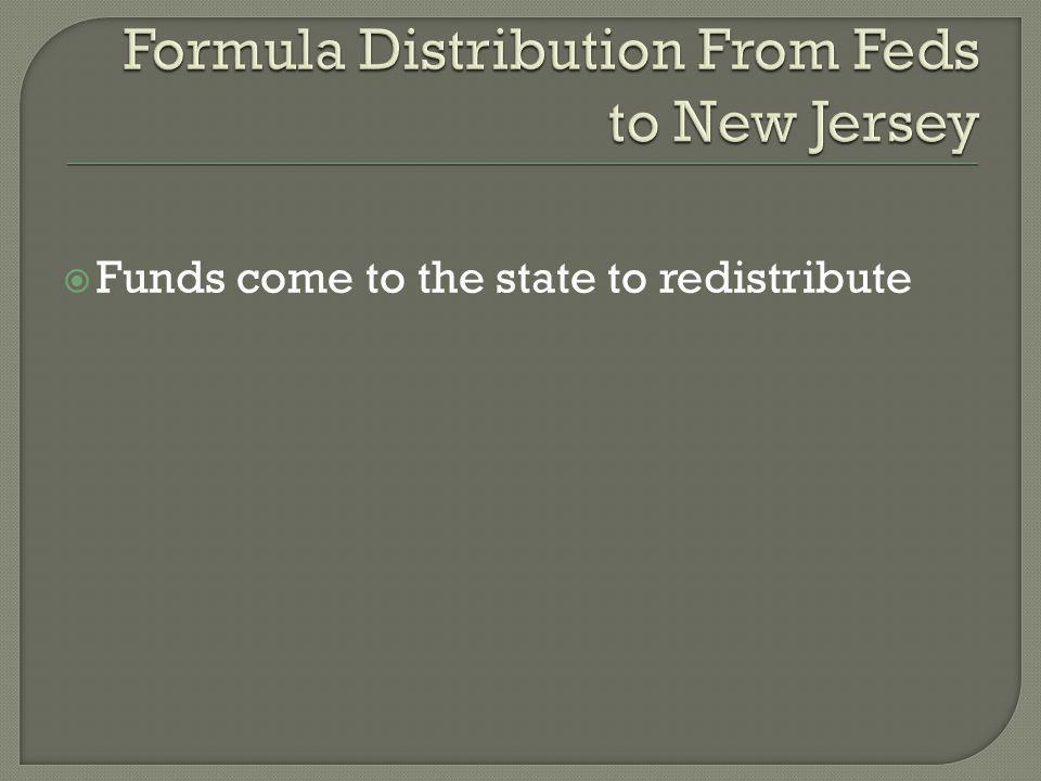  Funds come to the state to redistribute