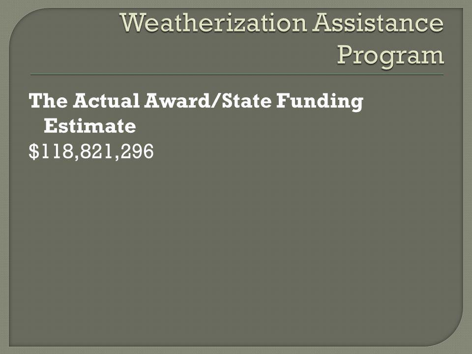 The Actual Award/State Funding Estimate $118,821,296
