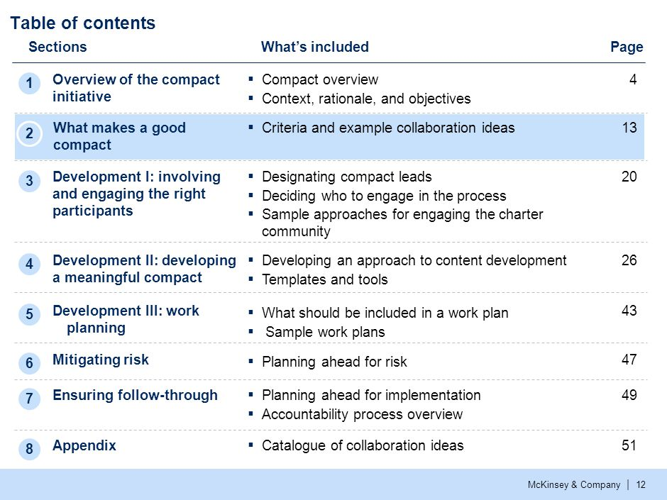 McKinsey & Company | 12 Table of contents SectionsWhat's included Overview of the compact initiative Development I: involving and engaging the right p