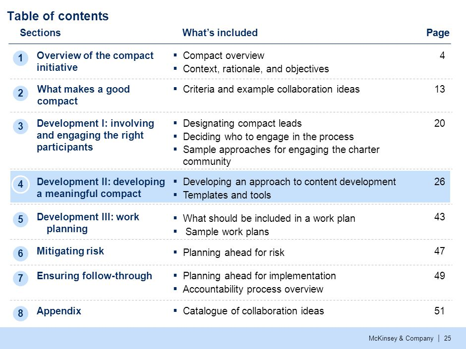 McKinsey & Company | 25 Table of contents SectionsWhat's included Overview of the compact initiative Development I: involving and engaging the right p
