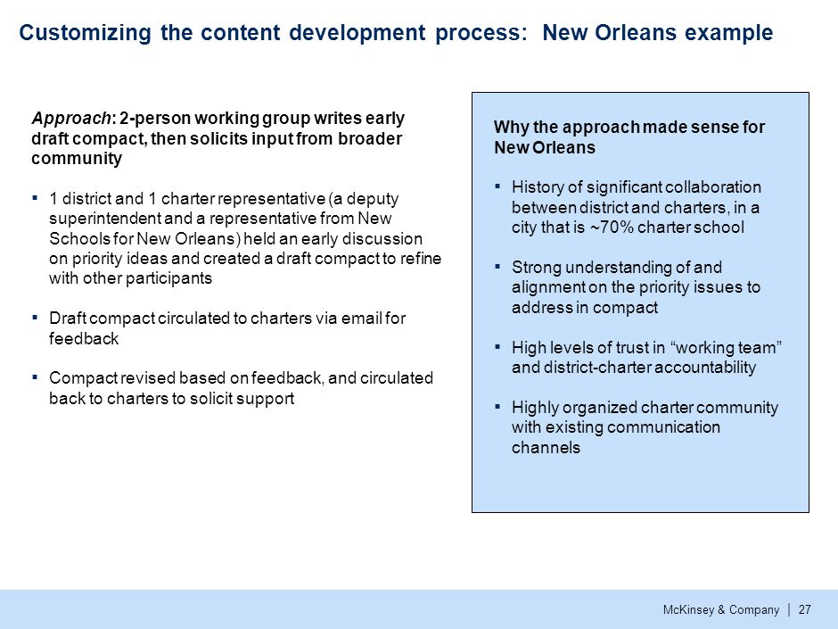 McKinsey & Company | 27 Customizing the content development process: New Orleans example Why the approach made sense for New Orleans ▪ History of sign