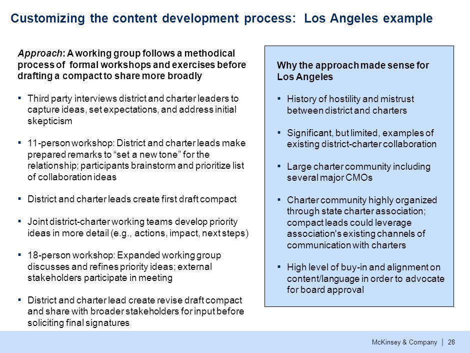 McKinsey & Company | 28 Customizing the content development process: Los Angeles example Why the approach made sense for Los Angeles ▪ History of host