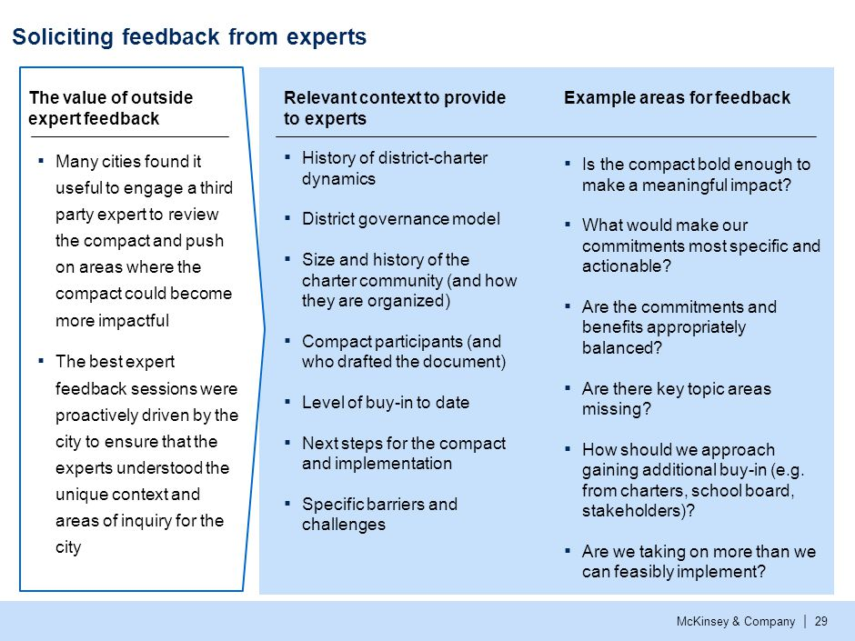 McKinsey & Company | 29 Soliciting feedback from experts Relevant context to provide to experts ▪ History of district-charter dynamics ▪ District gove