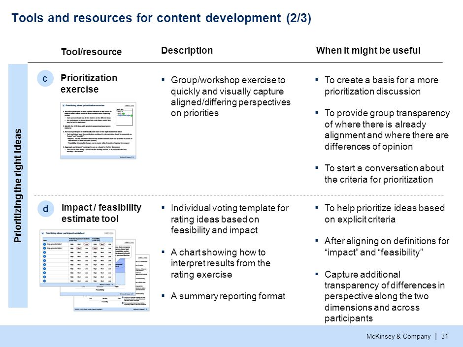 McKinsey & Company | 31 Tools and resources for content development (2/3) Tool/resource Prioritization exercise c Impact / feasibility estimate tool d