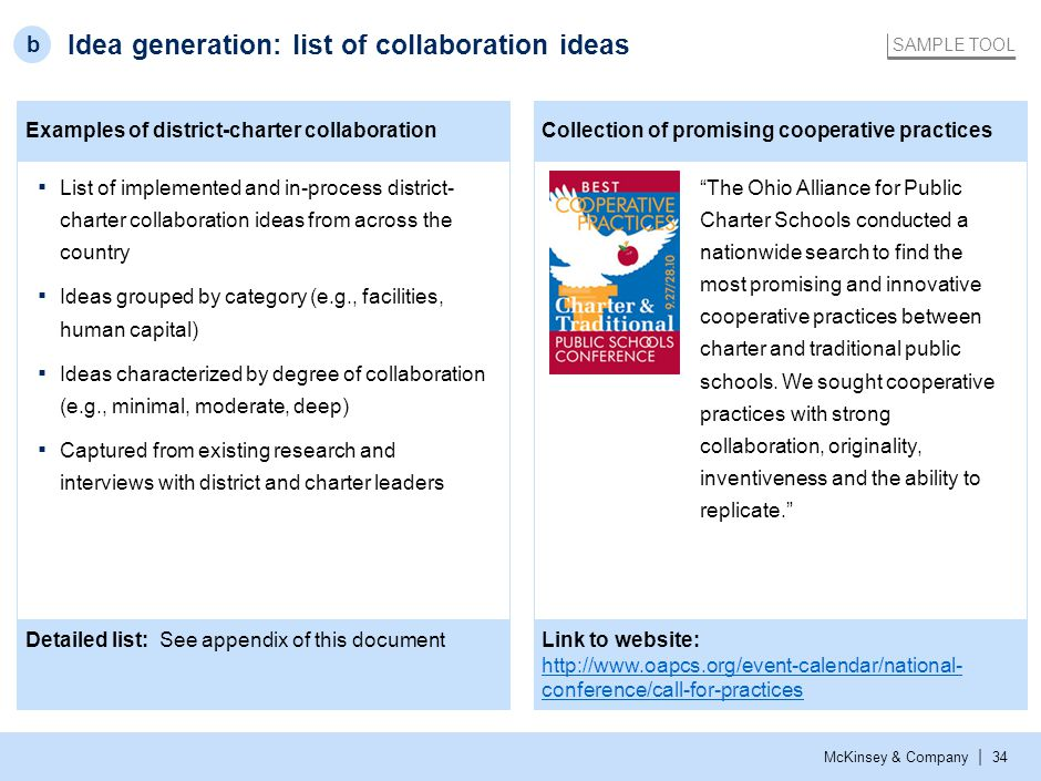 McKinsey & Company | 34 Examples of district-charter collaborationCollection of promising cooperative practices Idea generation: list of collaboration