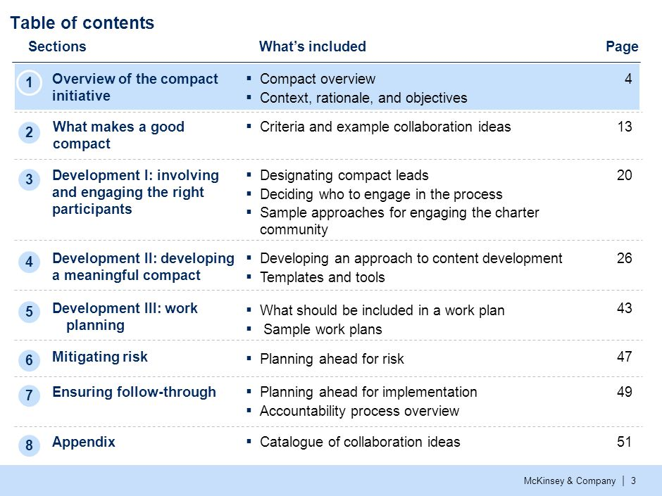 McKinsey & Company | 3 Table of contents SectionsWhat's included Overview of the compact initiative 4 Development I: involving and engaging the right