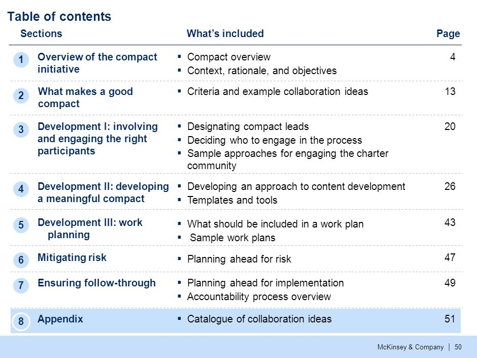McKinsey & Company | 50 Table of contents SectionsWhat's included Overview of the compact initiative Development I: involving and engaging the right p