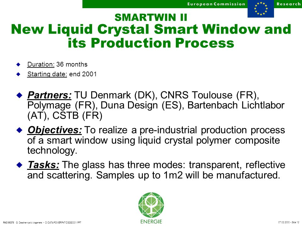 07.02.2000 - Slide 12 PAO MO75 G. Deschamps/ M. Magermans D:/DATA/POWERPNT/DSGS0001.PPT SMARTWIN II New Liquid Crystal Smart Window and its Production
