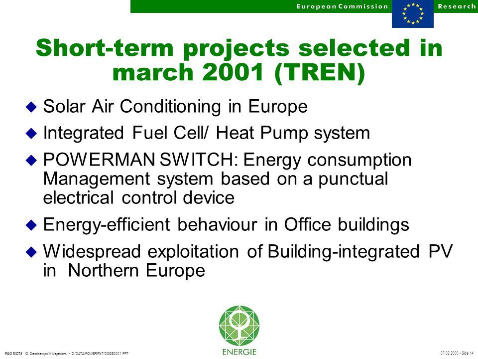 07.02.2000 - Slide 14 PAO MO75 G. Deschamps/ M. Magermans D:/DATA/POWERPNT/DSGS0001.PPT Short-term projects selected in march 2001 (TREN) u Solar Air