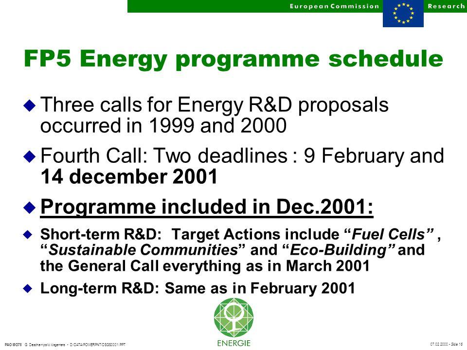 07.02.2000 - Slide 16 PAO MO75 G. Deschamps/ M. Magermans D:/DATA/POWERPNT/DSGS0001.PPT FP5 Energy programme schedule u Three calls for Energy R&D pro
