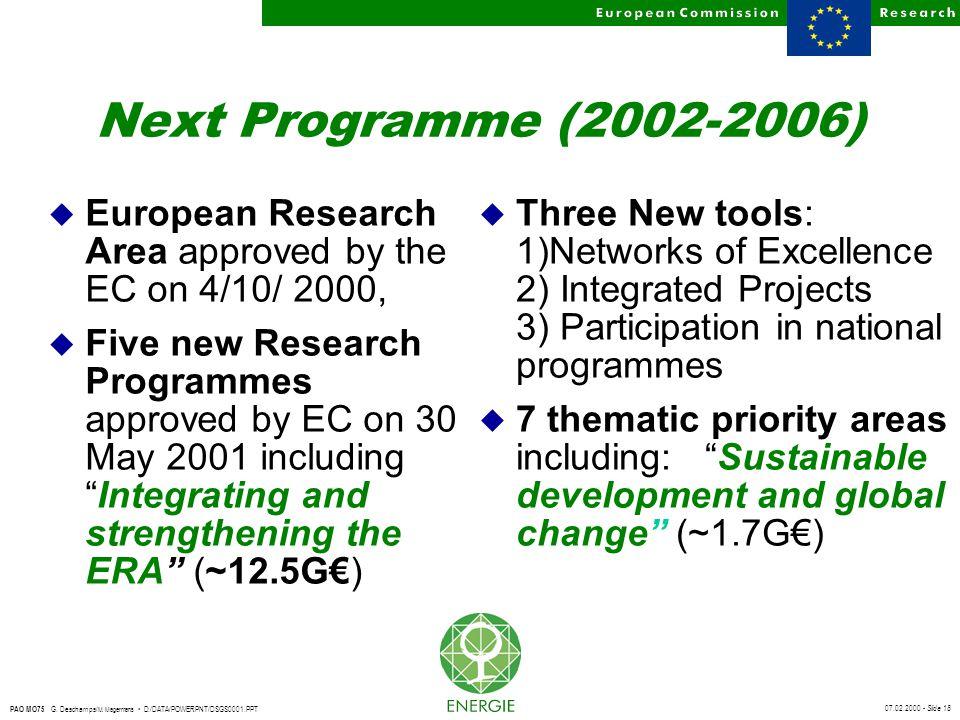07.02.2000 - Slide 18 PAO MO75 G. Deschamps/ M. Magermans D:/DATA/POWERPNT/DSGS0001.PPT Next Programme (2002-2006) u European Research Area approved b