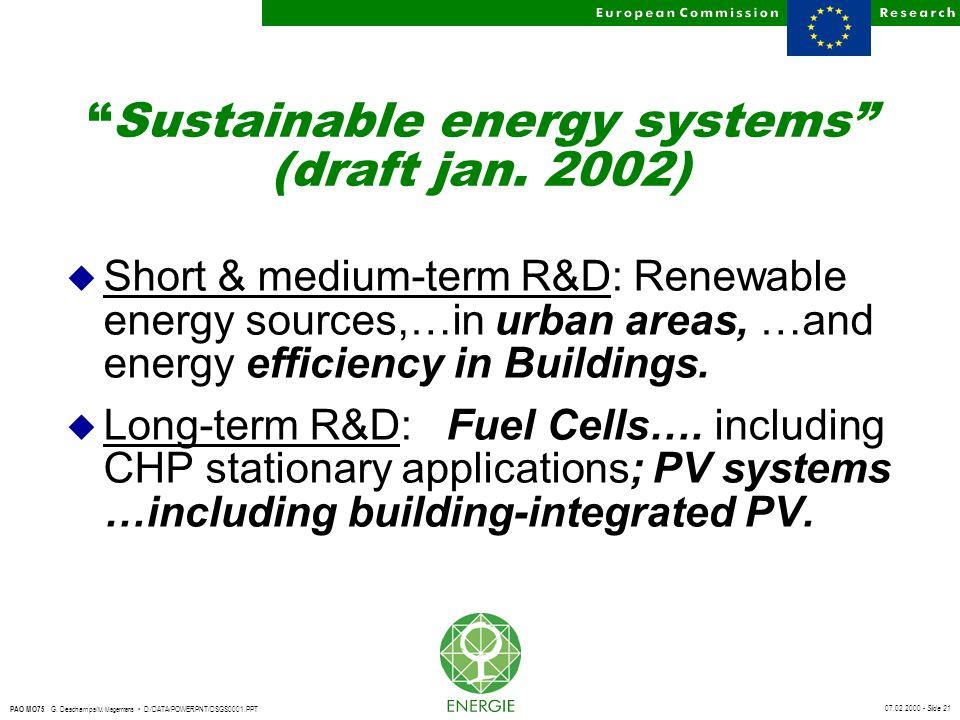 "07.02.2000 - Slide 21 PAO MO75 G. Deschamps/ M. Magermans D:/DATA/POWERPNT/DSGS0001.PPT ""Sustainable energy systems"" (draft jan. 2002) u Short & mediu"