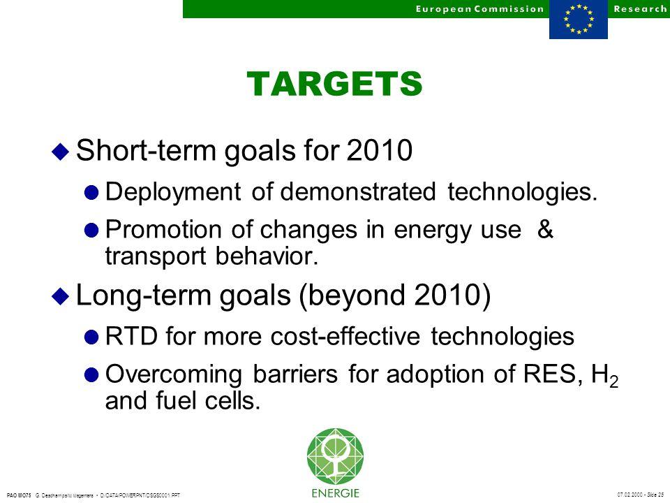 07.02.2000 - Slide 25 PAO MO75 G. Deschamps/ M. Magermans D:/DATA/POWERPNT/DSGS0001.PPT TARGETS u Short-term goals for 2010 l Deployment of demonstrat
